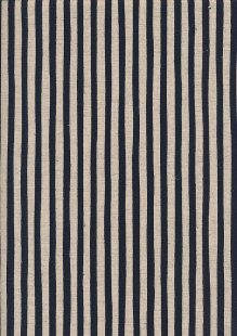 Sevenberry Japanese Linen Look Cotton - Plain Navy Blue Stripe On Cream