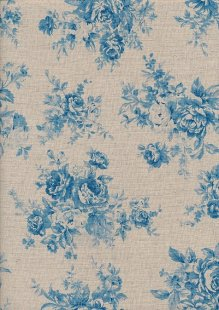 Sevenberry Japanese Linen Look Cotton - Plain Blue Rose
