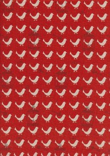 Sevenberry Japanese Linen Look Cotton - Plain Birds On Red