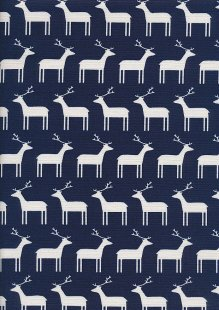 Sevenberry Japanese Linen Look Cotton - Plain Reindeer On Navy Blue