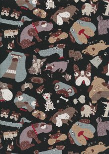 Sevenberry Japanese Linen Look Cotton - Plain Dogs On Black