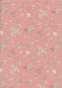 Sevenberry Japanese Linen Look Cotton - Plain Mushrooms On Pink