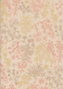 Sevenberry Japanese Linen Look Cotton - Plain Floral Sprig On Cream