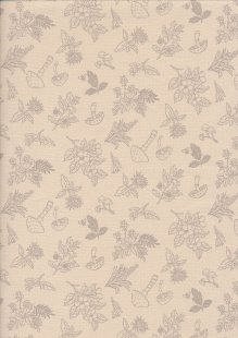 Sevenberry Japanese Linen Look Cotton - Plain Mushrooms On Cream