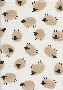 Sevenberry Japanese Linen Look Cotton - Plain Sheep On Cream