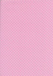 Fabric Freedom - White Pin Spot On Pink