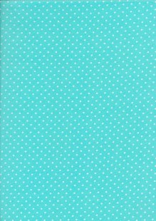 Fabric Freedom - White Pin Spot On Turquoise