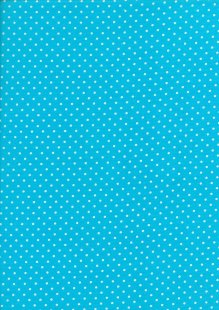 Fabric Freedom - White Pin Spot On Aqua