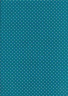 Fabric Freedom - White Pin Spot On Teal