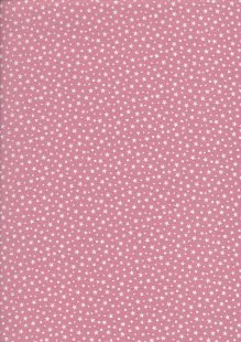 Fabric Freedom - Scattered White Stars On Pink