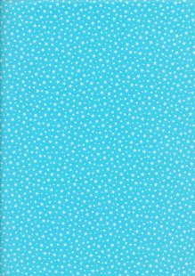 Fabric Freedom - Scattered White Stars On Turquoise