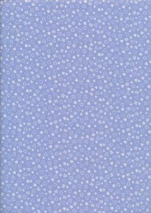 Seven Berry Japanese Fabric - Scattered White Stars On Purple