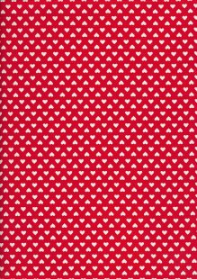 Seven Berry Japanese Fabric - Linear White Hearts On Red