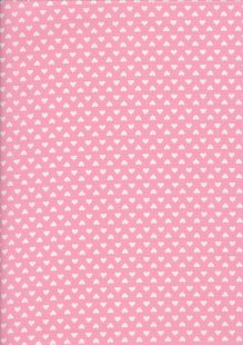 Seven Berry Japanese Fabric - Linear White Heart On Pink