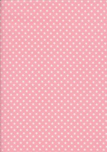 Seven Berry Japanese Fabric - Linear White Stars On Pink
