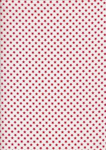 Seven Berry Japanese Fabric - Linear Red Stars On White
