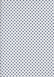 Seven Berry Japanese Fabric - Linear Blue Stars On White
