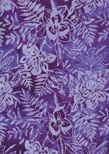Sew Simple Bali Batik - Floral Leaf Purple-334-28-28