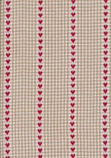 Canvas Ticking - Red Hearts