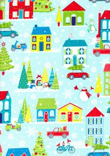 Studio E - Christmas Mulberry Lane Winter Wonderland Scene Blue