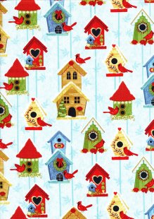 Studio E - Christmas Winter Joy Bird House Blue