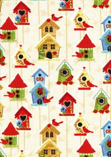 Studio E - Christmas Winter Joy Bird House Beige