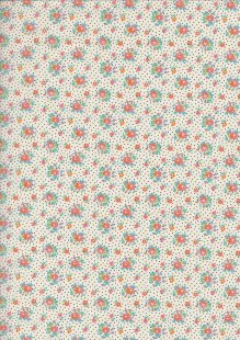 Poly/Cotton -Spot & Floral Ivory