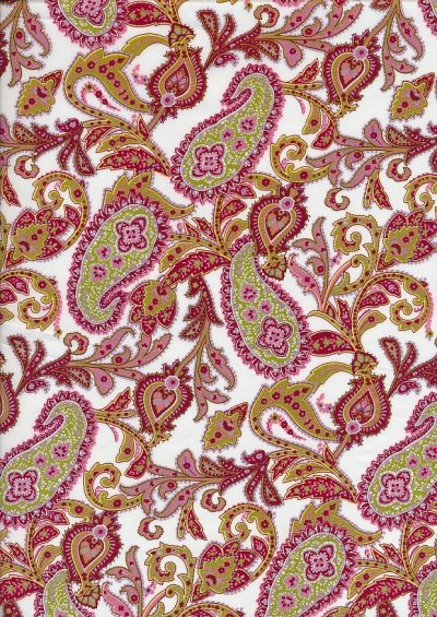 Pima Cotton Lawn - Red Block Paisley