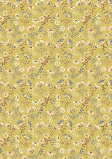 Lewis & Irene - A Little Bird Told Me A65.2 Cottage Flowers on Spring Yellow