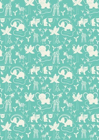 Lewis & Irene - Safari Park A51.3 Safari Animals on Turquoise