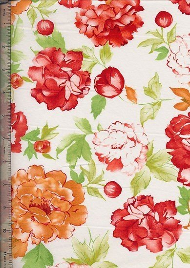 "Cotton Sateen Print 60"" Wide - White Rose"