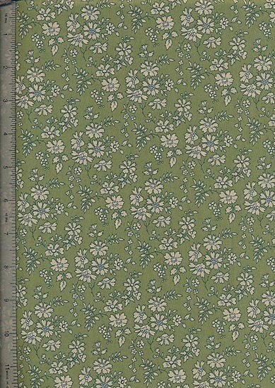 Liberty Tana Lawn - Green With Cream Floral