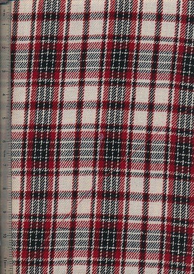 Tartan 100% Cotton - Red, Black & Cream
