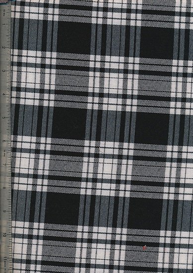 Tartan Poly Viscose - Black, Grey & Cream