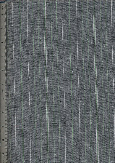 Chambray - 65% Linen 35% Viscose Pinstripe - Grey w/Green Stripe