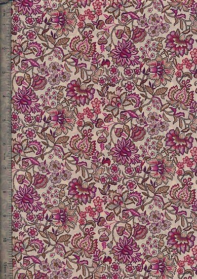 Peter Horton's South Island Lawn Collection - Cream With Purple And Pink Floral