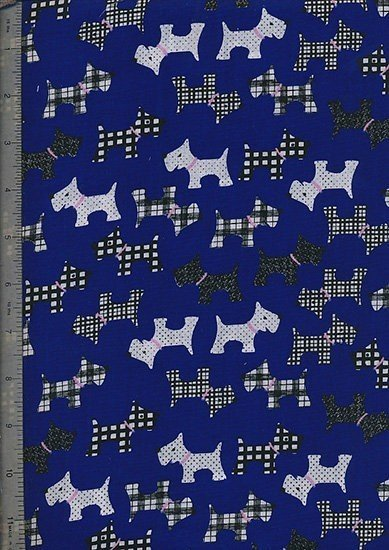 Poly Cotton Novelty - Blue Scotty Dogs