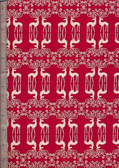 John Louden - Scandi Christmas Red Mirrored Reindeers