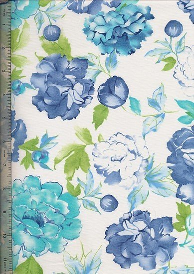 "Cotton Sateen Print 60"" Wide - White With Blue Rose"