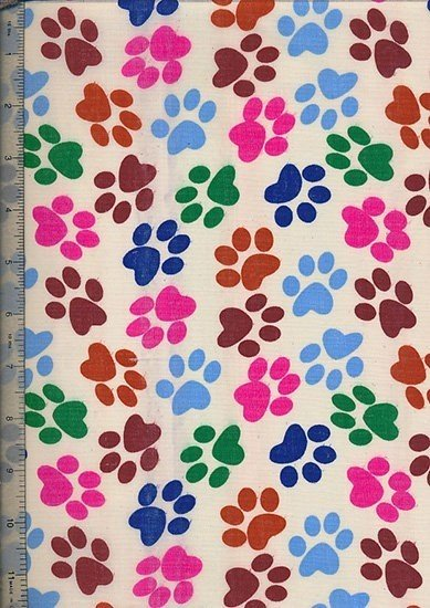 Poly Cotton Novelty - Cream Paw Prints