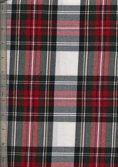 Tartan Poly Viscose - Green, Red & Cream
