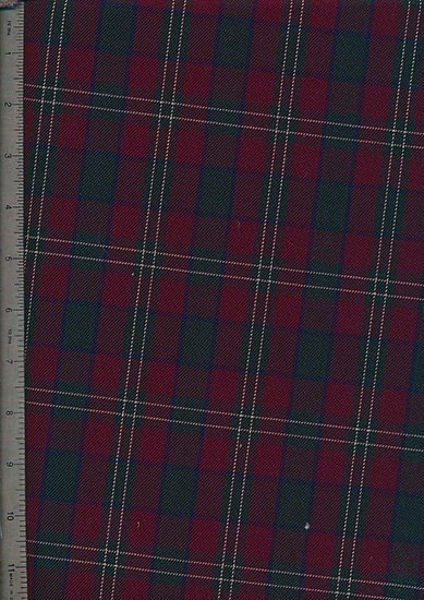 Tartan Poly Viscose Spandex - Red, Green & White