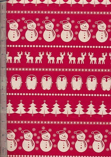 John Louden - Scandi Christmas Red Snowmen, Reindeer, Penguins & Trees