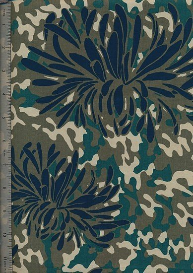 "Cotton Sateen Print 60"" Wide - Green Flower"
