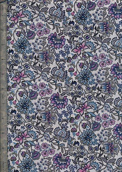 Peter Horton's South Island Lawn Collection - Ivory With Blue And Pink Floral