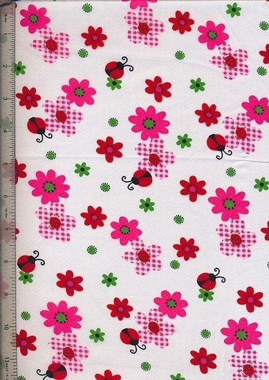 Poly Cotton Novelty - White Ladybirds And Floral