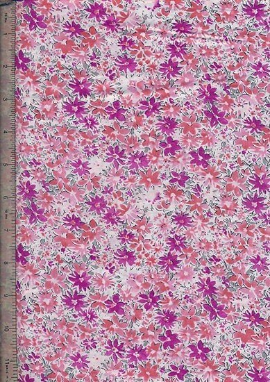 Peter Horton's South Island Lawn Collection - White With Bright Pink And Purple Floral