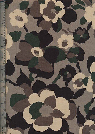 "Cotton Sateen Print 60"" Wide - Brown Flower Head"