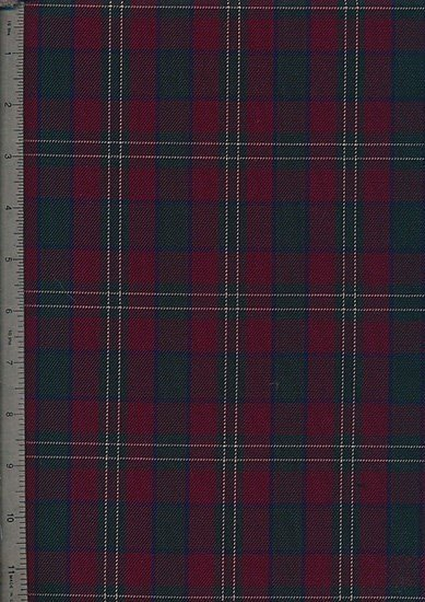 Tartan Poly Viscose - Red, Green & White