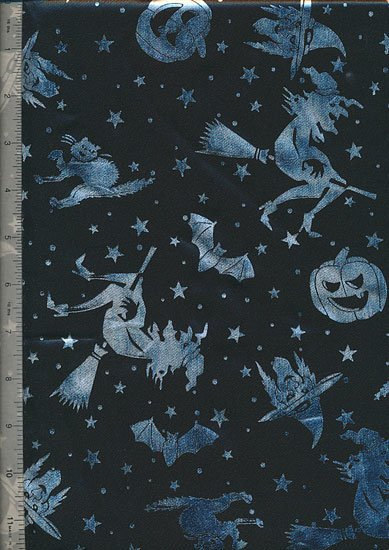 Gilded Witches. Bats & Pumpkins - Polyester